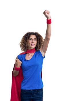 Woman pretending to be superhero