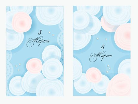 A set of cards for International Women's Day. March 8. Spring colors. Blue background. Ready-made posters for printing.
