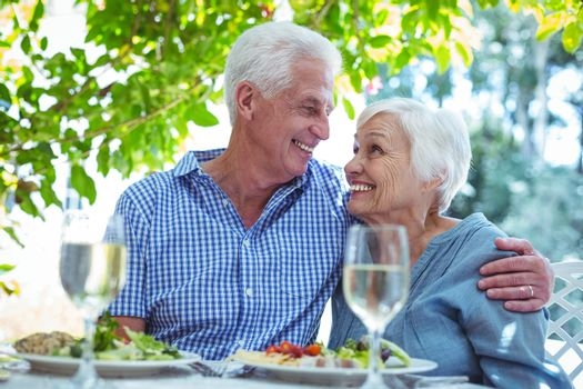 Cheerful retired couple with arm around