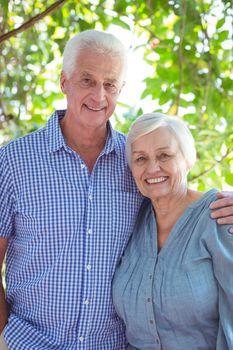 Cheerful senior couple with arm around
