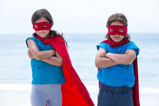 Sibling pretending to be superhero