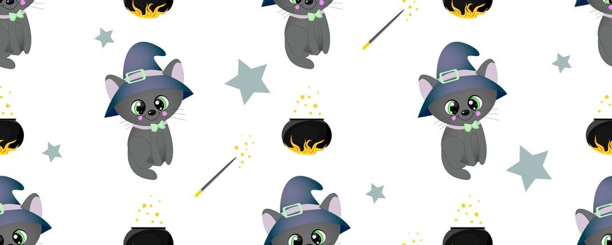School of magic. MAGIC. The cat is black. Magical items. Harry Potter and Hogwarts. Seamless teenage pattern. Cauldron with a magic potion. Magic wand.