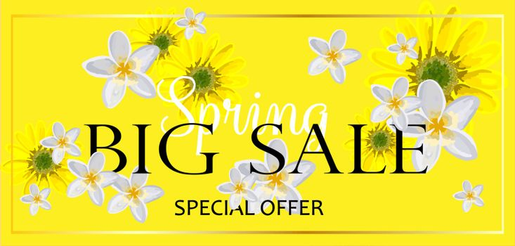 BIG SALE. Banner for advertising discounts and promotions. Spring discounts. Bright design. Flowers on a yellow background.