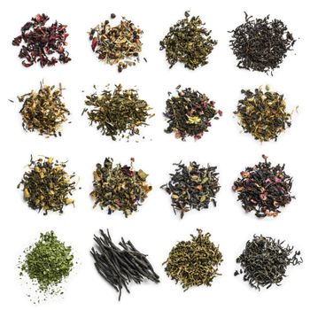 Large assortment of tea on a white background. The view from the top.