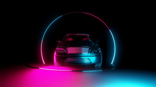 Car with neon light circle frames on dark background. 3D illustration