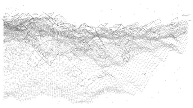 An abstract vector-made technological background consisting of dots and lines. The concept of the flow of information, the plexus effect. The vector is rendered from 3D.