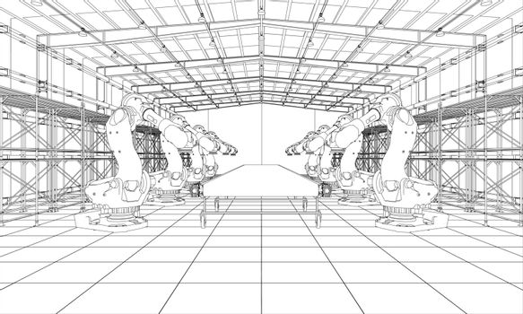 A plant with industral robots manipulators. Blueprint style. Vector rendering from 3D model