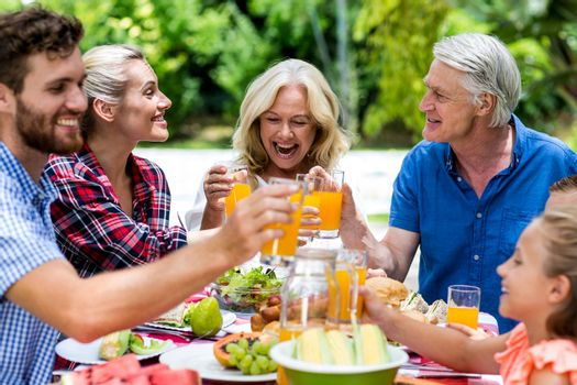Smiling family toasting juice at table in yard