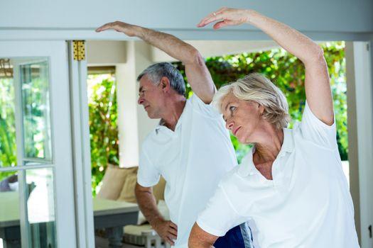 Senior couple doing aerobics