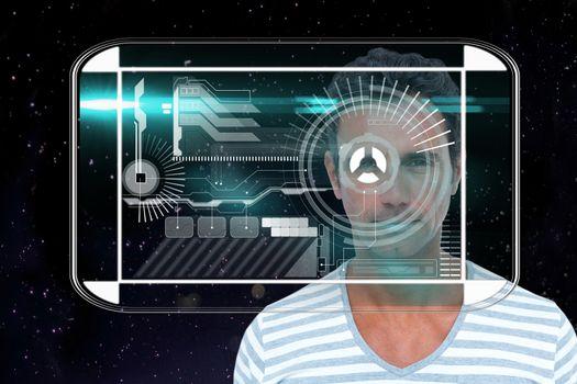 Man looking at tech interface