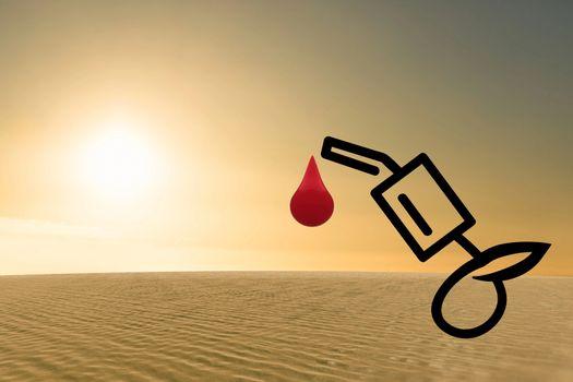 Composite image of arid desert of oil