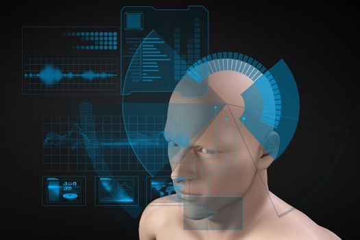 Interface scanning model of head