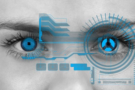 Eyes scanning a futuristic interface