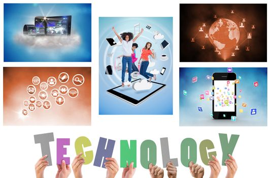 Collage of technology devices on white background