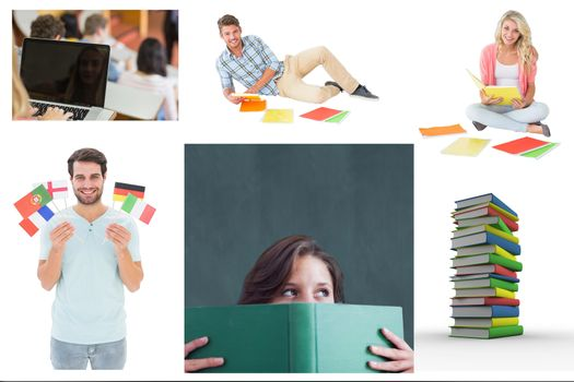 Collage of education on white background