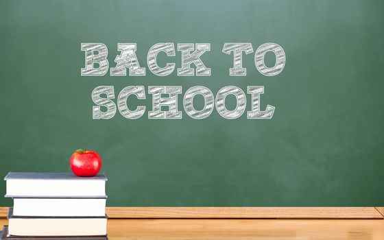 Composite image of back to school on back board