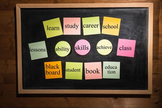 Memo with education terms on a blackboard