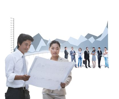 Composite image of estate agent and buyer looking at blueprint