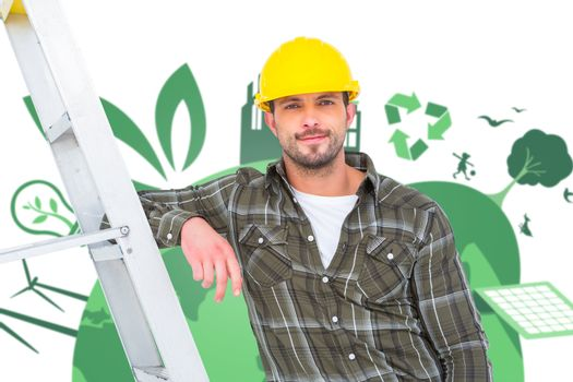 Composite image of smiling handyman in overalls leaning on ladder