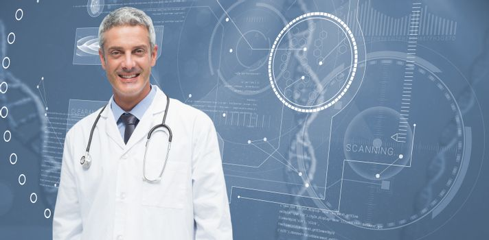 Male doctor smiling against view of dna