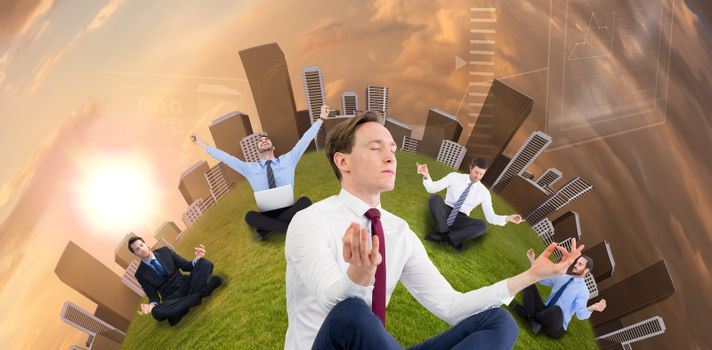 Zen businessman meditating in yoga pose against blue and orange sky with clouds Zen businessman meditating in yoga pose on white background