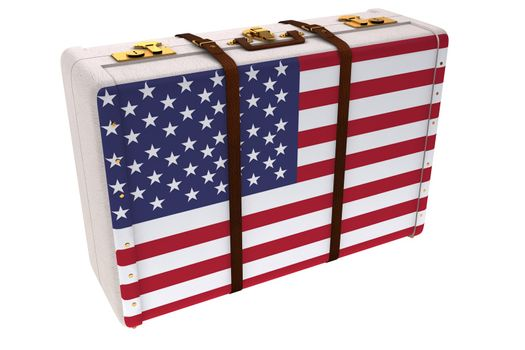 American flag on a suitcase