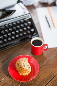 Typewriter putting on a desk