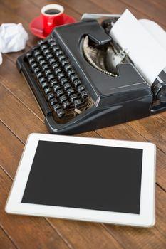 Side view of typewriter