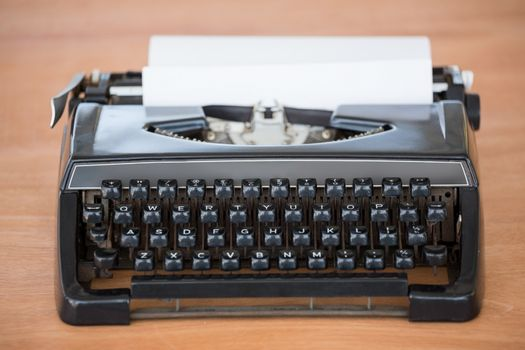 Front view of typewriter