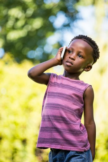 A child is having phone call