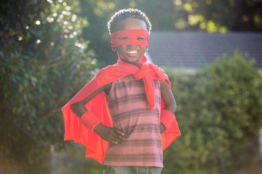 Boy in a superhero costume