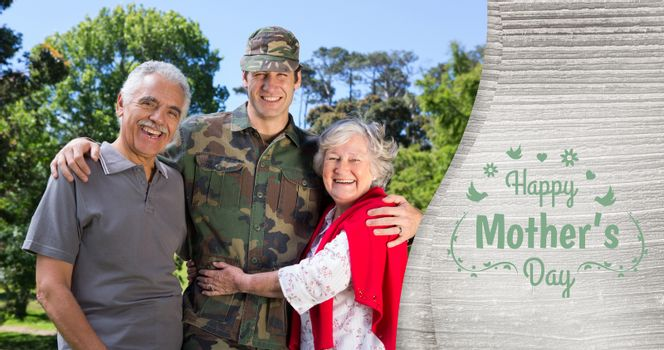 Portrait of army man with parents against mothers day greeting