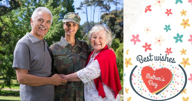 Portrait of army woman with parents against mothers day greeting