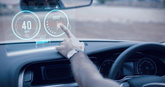 Composite image of image of a dashboard