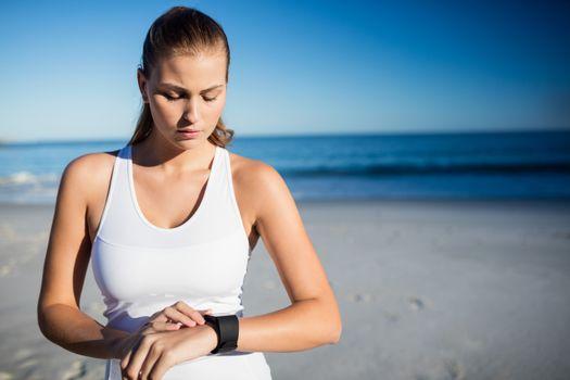 Woman using a smart watch