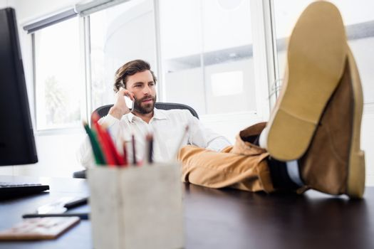 A man calling in the office