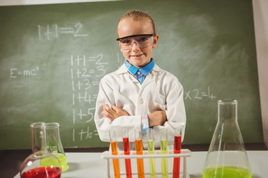 Girl dressed as a scientist
