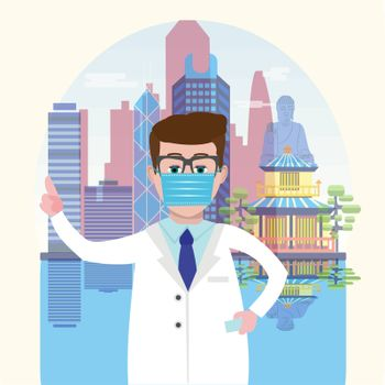 Attractive Hong Kong skyline harbour background and Doctor wearing a medical mask and pointing to it with her finger. Vector illustration healthcare concept.