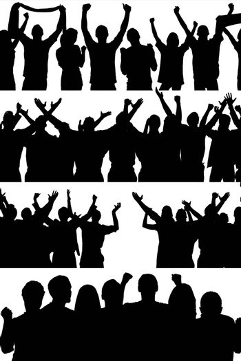Composite image of people enjoying together in a white background