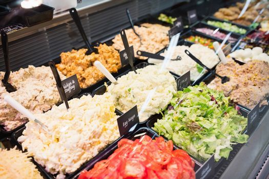 Sales counter with salads