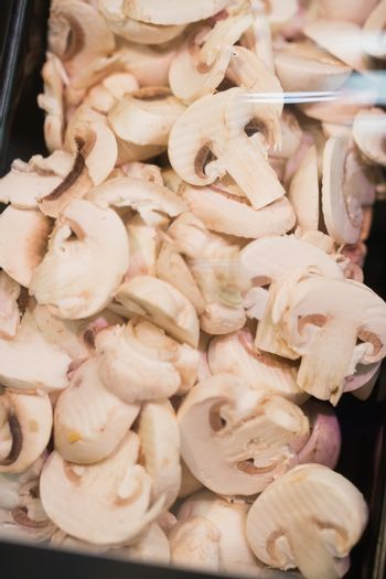 View of several mushrooms gathering together