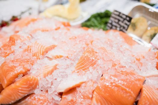 Sales counter with salmon