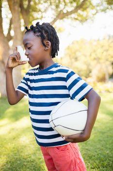 Boy holding an object