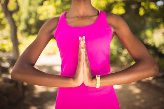 Woman doing yoga alone