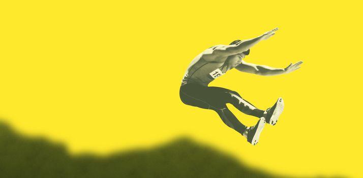 Portrait of sportsman is jumping