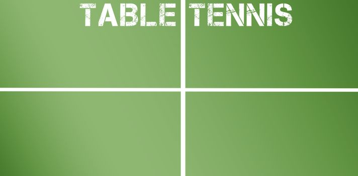 Table tennis message written in white