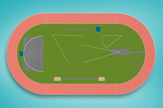 Composite image of an athletics field plan