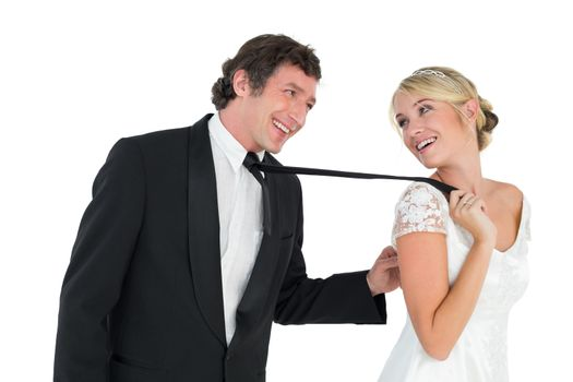 Playful couple looking at each other
