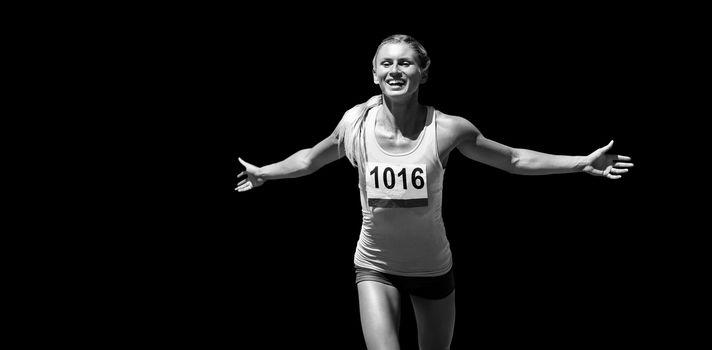 Sportswoman finishing her run