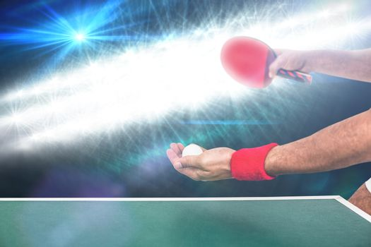 Athlete man playing table tennis